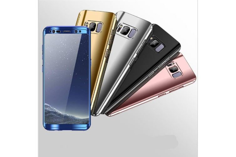Mirror Cover Full Protective Scratchproof Flip Stand Case Shell For Samsung Blue Samsung A7-2017
