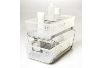 Madesmart Two Level Storage Baskets with Dividers 21cm x 37cm x 15cm