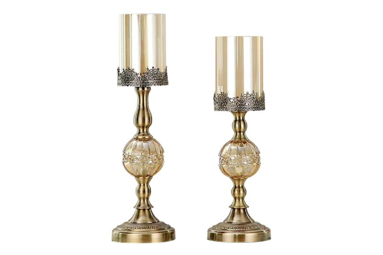 SOGA 42cm 48cm Glass Candle Holder Candle Stand Glass/Metal with Candle Set