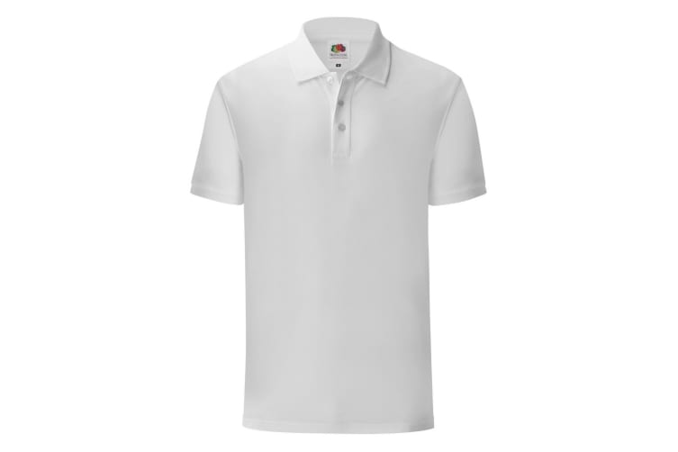 Fruit Of The Loom Mens Iconic Pique Polo Shirt (White) (XXL)