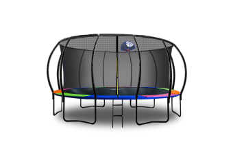 POP MASTER 16FT FIBERGLASS CURVED TRAMPOLINE WITH BASKETBALL HOOP LADDER