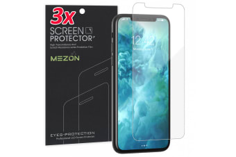 """[3 Pack] Apple iPhone 11 (6.1"""") Ultra Clear Screen Protector Film by MEZON – Case Friendly, Shock Absorption (iPhone 11, Clear)"""