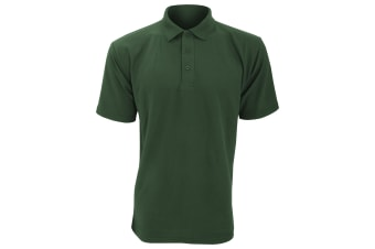 UCC 50/50 Mens Plain Piqué Short Sleeve Polo Shirt (Bottle Green) (2XL)