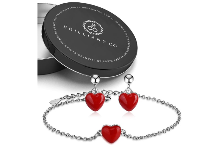 Boxed Red Heart Enamel Bracelet and Earrings Set