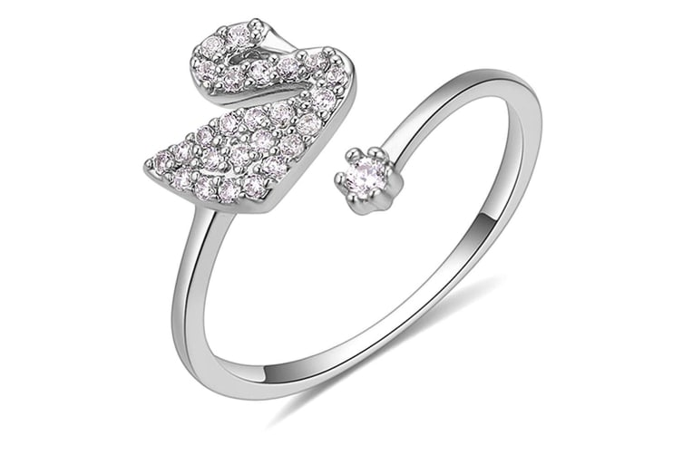 Magical Swan Ring-White Gold/Clear Size US 6