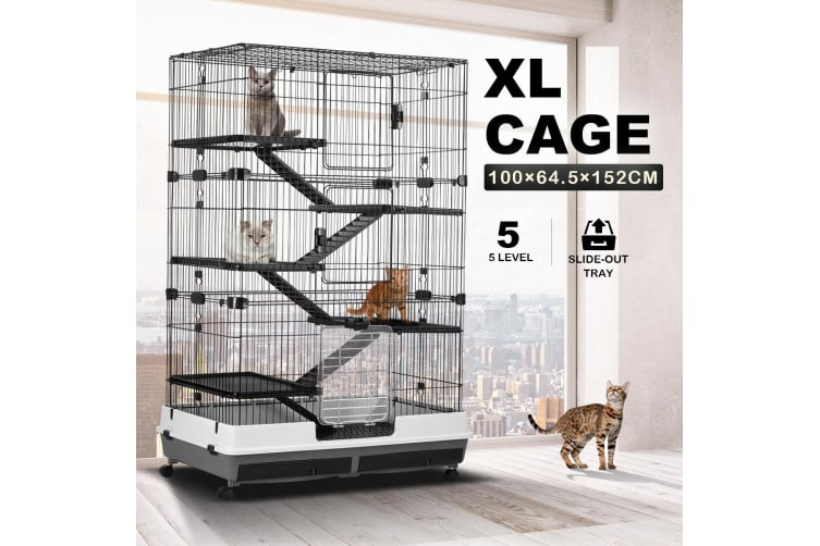 5 Level Rabbit Cage Hutch Metal Cat Ferret Guinea Pigs House Small Animal Home