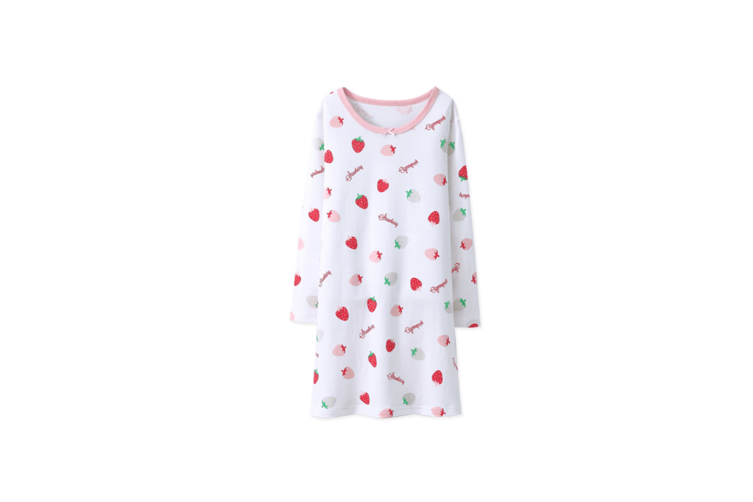 Nightgowns For Girls Cotton Pajamas Dresses Long Sleeve - White White 175