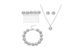 Jewelry For Brides With Comb Earrings Necklace Bracelets 6 Pieces - Silver Silver 5Pcs