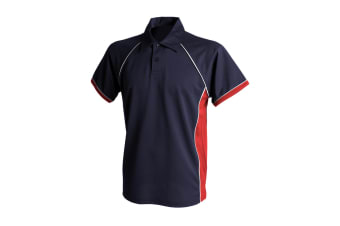Finden & Hales Mens Piped Performance Sports Polo Shirt (Navy/Red/White)
