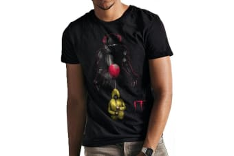 It Unisex Adults Lurking Pennywise Balloon Print T-Shirt (Black)