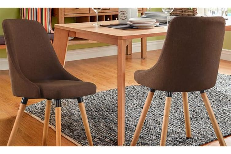 2pcs Cafe Fabric Upholstered Dining Chairs COFFEE
