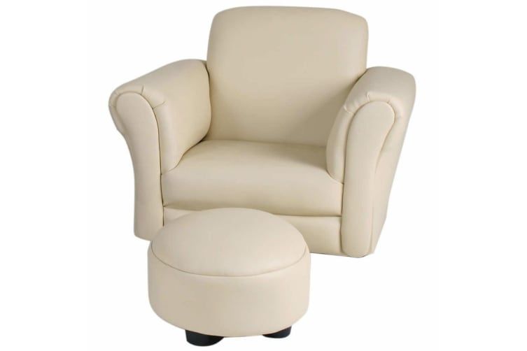 Valco Baby Kiddy Sofa/Kids Couch/Seat w/ Ottoman/Foot Rest Lounge Chair Ivory