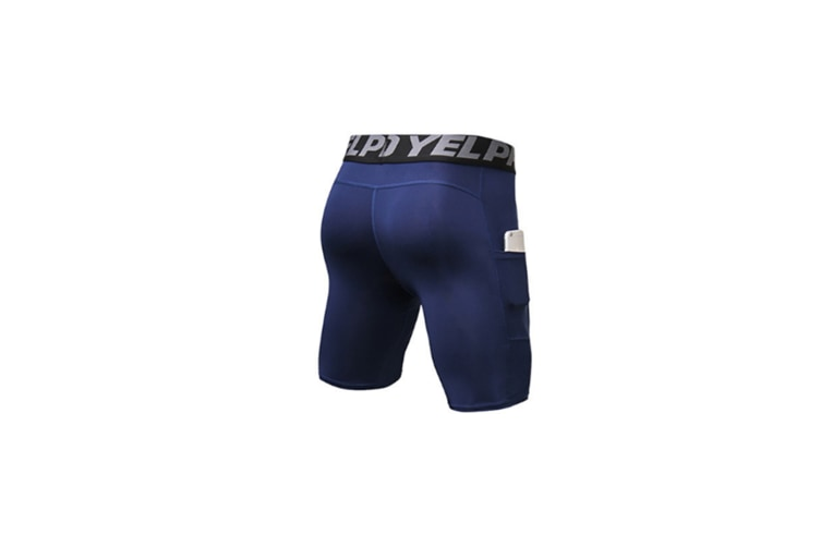 Men'S Compression Shorts Baselayer Cool Dry Sports Tights With Pocket - Navy Blue L