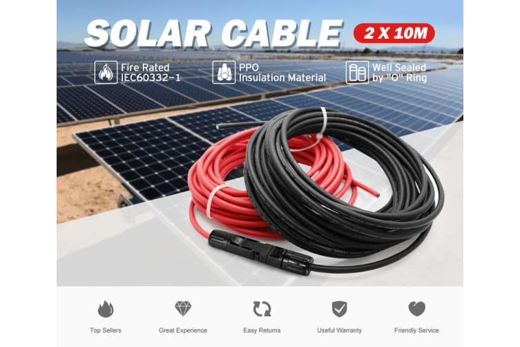 ATEM POWER 2x 10m Extension Cable Wire MC4 Connectors Solar Panel to regulator Cable 4mm2