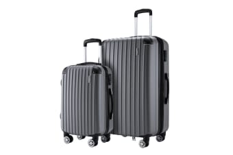 2 Pcs Luggage Set Suitcase Lightweight Trolley Carry On Travel TSA Hard Case - Grey