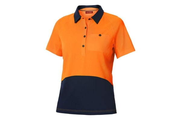 Hard Yakka Women's Koolgear Hi-Vis Short Sleeve Polo (Orange/Dark Navy, Size M)