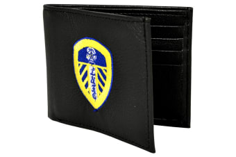 Leeds United FC Official Embroidered Football Crest Leather Wallet (Black)
