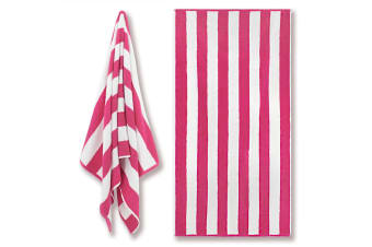 Canningvale Cotton Terry Beach Towel - Cabana Stripe Pink