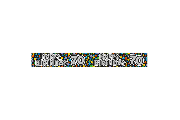 Expression Factory Happy 70th Birthday Polka Dot Foil Party Banner (Multicoloured) (One Size)