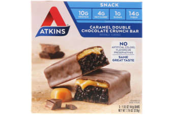 Atkins, Snack, Caramel Double Chocolate Crunch Bar, 5 Bars, 1.55 oz (44 g) Each
