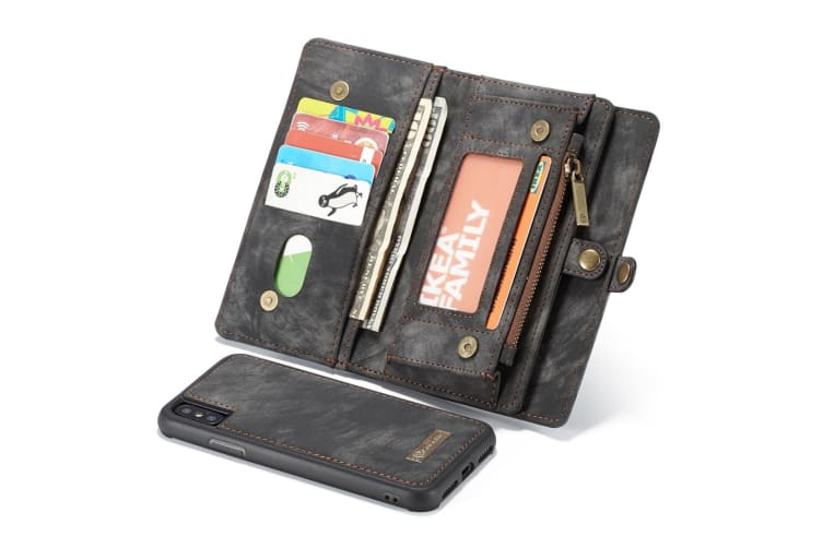 For iPhone XS Max Case Black Leather Multiuse Case 11 Card Slots
