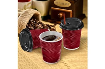50 x 12oz Red Disposable Coffee Cup Bulks