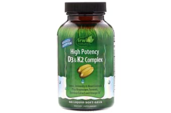 Irwin Naturals High Potency D3 & K2 Complex - 60 Liquid Soft-Gels