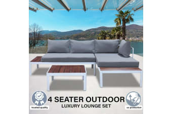 Milano 3 Piece Outdoor Lounge Set, Teak & Aluminium
