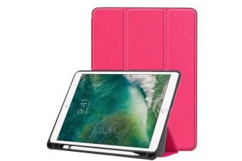 For iPad Air 3 (2019) Case Karst Texture PU Leather Folio Cover Pen Slot RoseRed