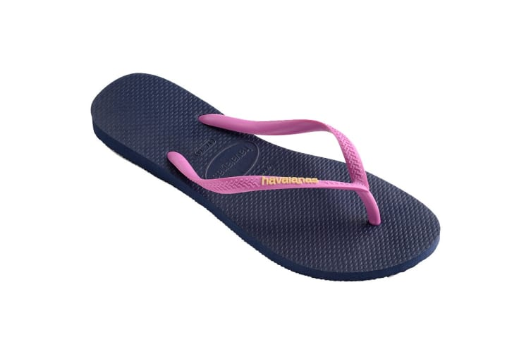 Havaianas Slim Logo Pop Up Thongs (Navy Blue/Ice Pink, Size 37/38 BR)