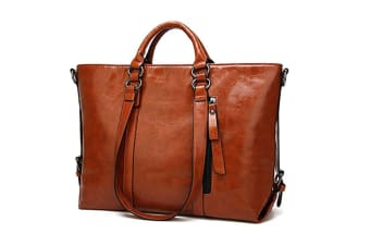 Fashion Pu Leather Top Handle Bags Waterproof Handbags Shoulder Bags Brown