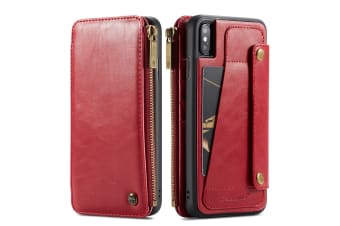 For iPhone XS Max Case Red Detachable Functional Folio Leather Cover Card Slots