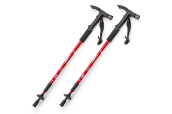 HPF Red LED Anti-Shock Adjust Trekking Pole Hike Stick