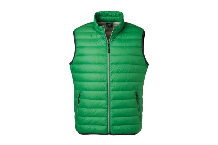 James and Nicholson Mens Light Down Vest (Fern Green/Silver) (3XL)