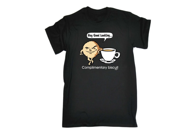 123T Funny Tee - Complimentary Biscuit - (Small Black Mens T Shirt)