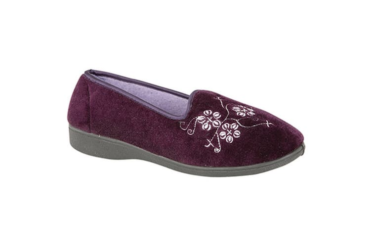 Zedzzz Womens/Ladies Jenny Embroidered Slippers (Purple) (3 UK)