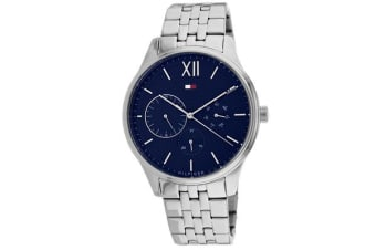 Tommy Hilfiger Men's Damon Watch (Blue Dial, Stainless Steel Bracelet)