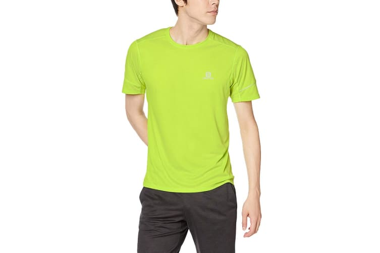 Salomon Agile Short Sleeve Tee Men's (Acid Lime, Size Large)