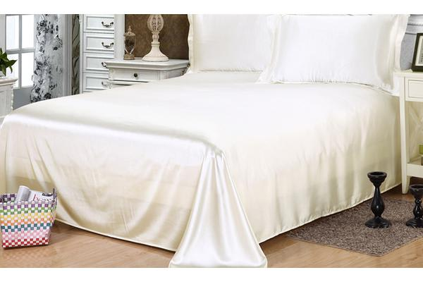 Luxury Super Soft Silky Satin Fitted/ Flat Sheet Pillowcases Bed Set IVORY Queen