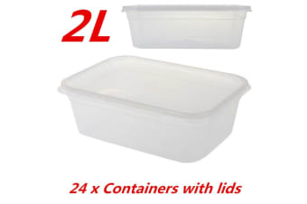 24 x TAKE AWAY CONTAINERS with LIDS 2000ML DISPOSABLE PLASTIC FOOD CONTAINER 2L