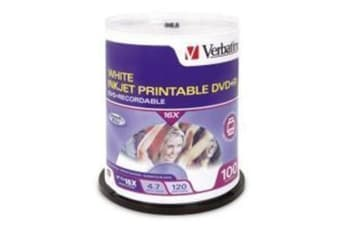 Verbatim DVD+R 4.7GB 100Pk White InkJet Printable 16x spindle