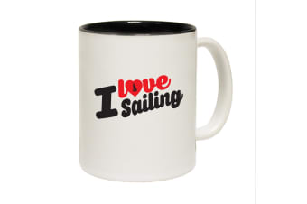 123T Funny Mugs - I Love Sailing - Black Coffee Cup