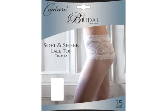 Couture Womens/Ladies Bridal Soft & Sheer Lace Waist Tights (1 Pair) (White)