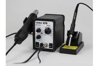 Soldering Iron Hot Air Gun Rework Station Solder 4 Tips 3 Nozzles Led Yihua 878