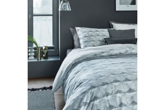 Concrete Tile Grey Cotton Percale Quilt Cover Set by Bedding House