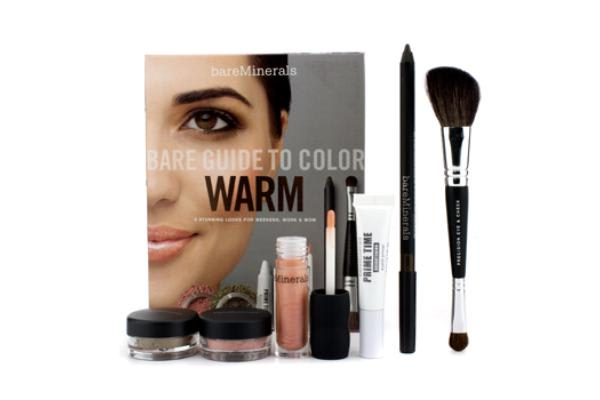 Bare Escentuals Bare Guide To Color - # Warm (Eyelid Primer + Eyecolor + Eyeliner + Face Color + Lip Gloss + Brush) (6pcs)