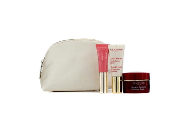 Clarins Instant Smooth Perfecting Touch Set: 1x Instant Smooth Perfecting Touch 15ml + 1x Instant Light Complexion Perfector 10ml + 1x Lip Perfector 5ml (3pcs+1 Bag)