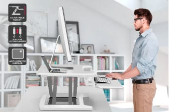 Ergolux DuoPro Height Adjustable Sit Stand Desk Riser (Medium, White)