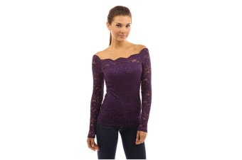 Women'S Off Shoulder Floral Lace Top Crochet T-Shirt Purple 2Xl Long Sleeve