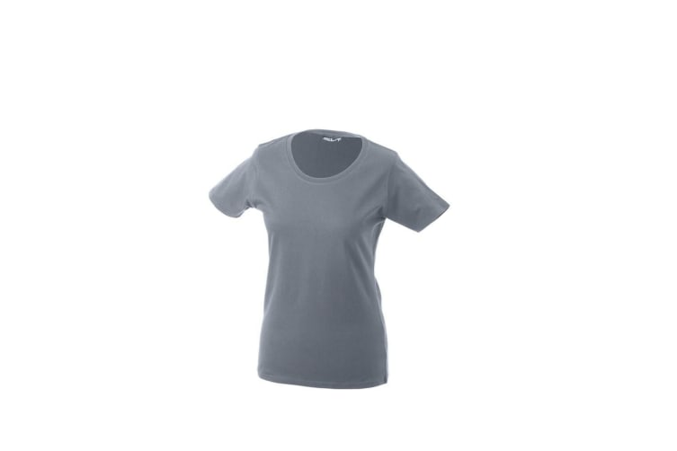 James and Nicholson Womens/Ladies Basic T-Shirt (Heather Grey) (L)
